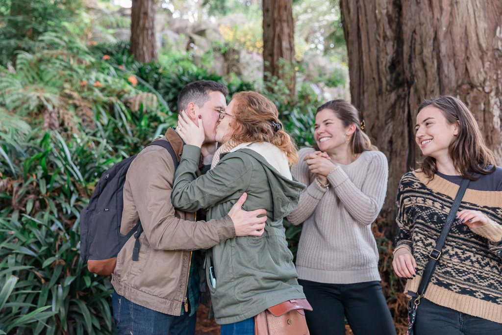 their best friends came all the way just to witness their surprise proposal in San Francisco