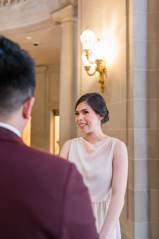 bride's reaction during the elopement ceremony