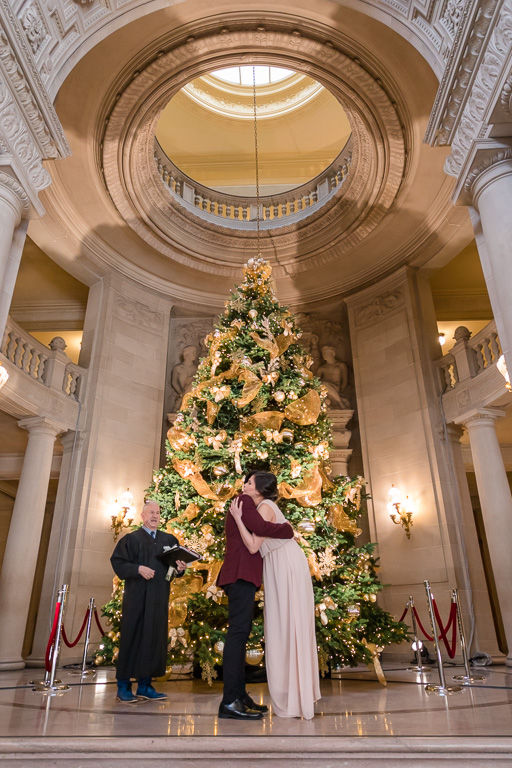 Christmas wedding ceremony at San Francisco City Hall