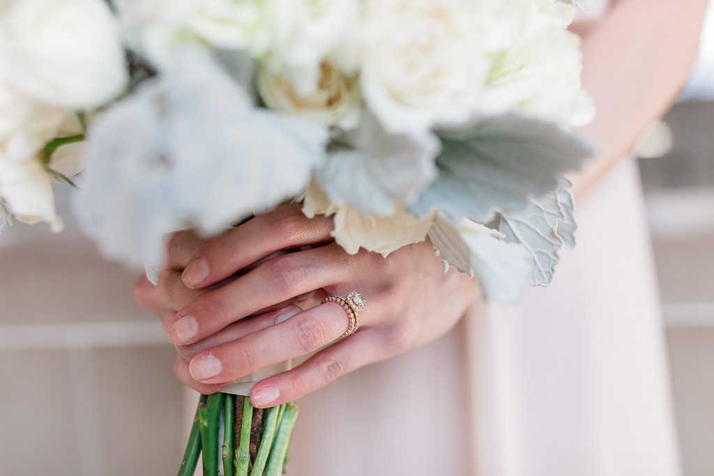 close-up of the ring and bouquet