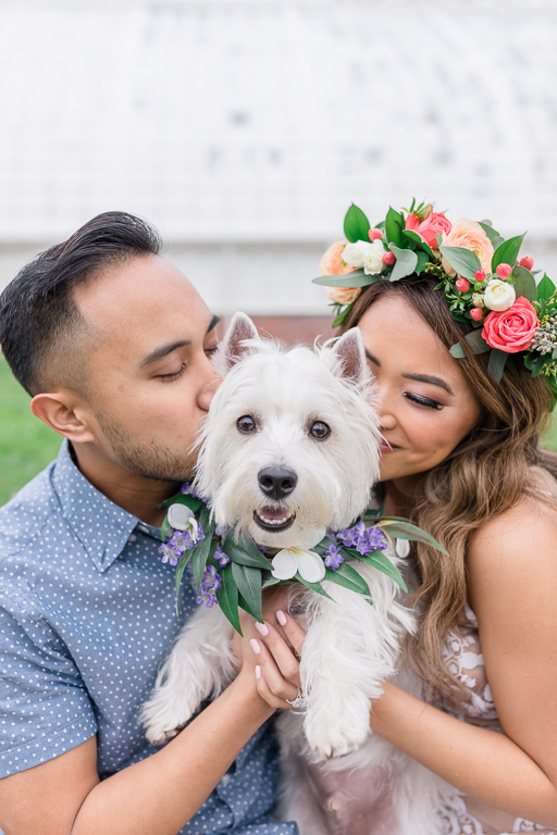 Golden Gate Park cute engagement photos with pups
