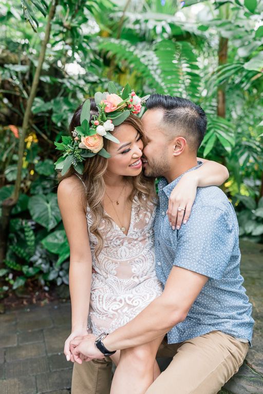 san francisco conservatory of flowers couple engagement portrait