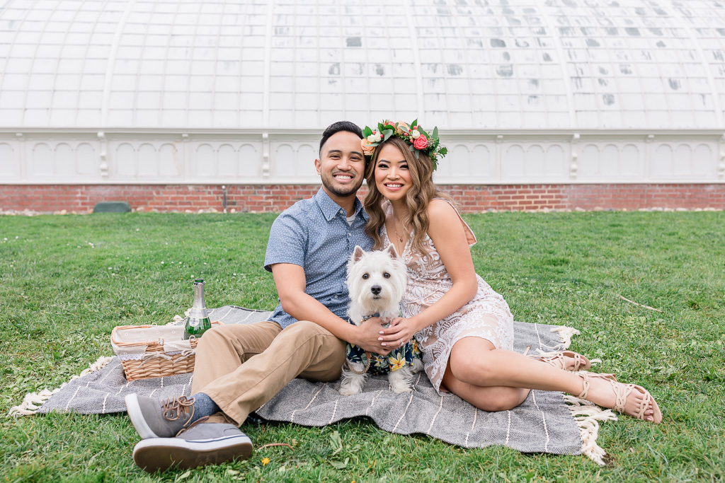 engagement photo with adorable puppy
