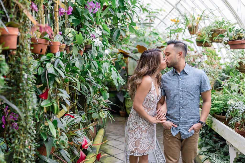 San Francisco greenhouse engagement picture