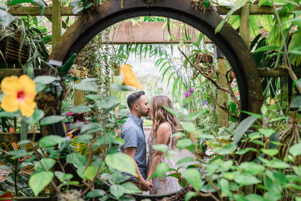 engagement photo inside conservatory of flowers