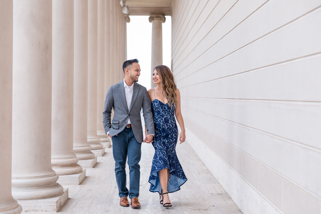 San Francisco engagement photo in a formal gown