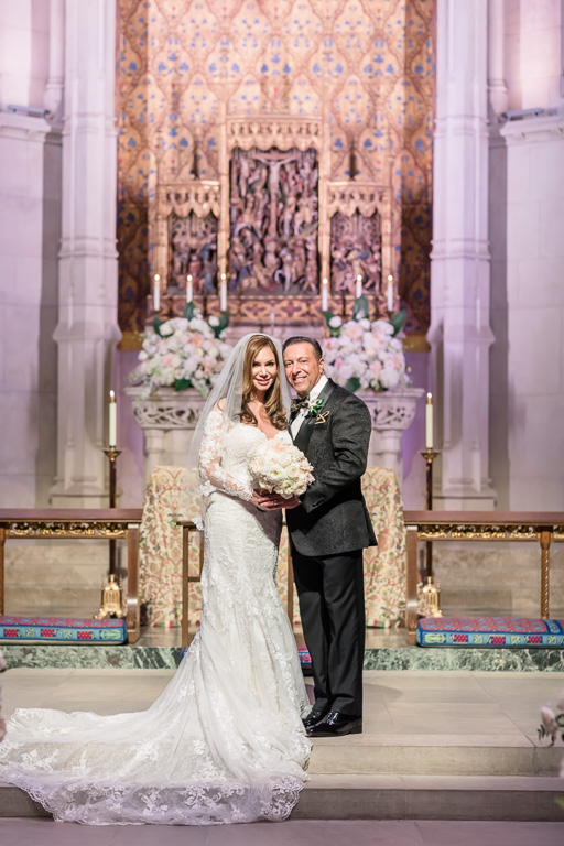 wedding portrait at the chapel where they got married