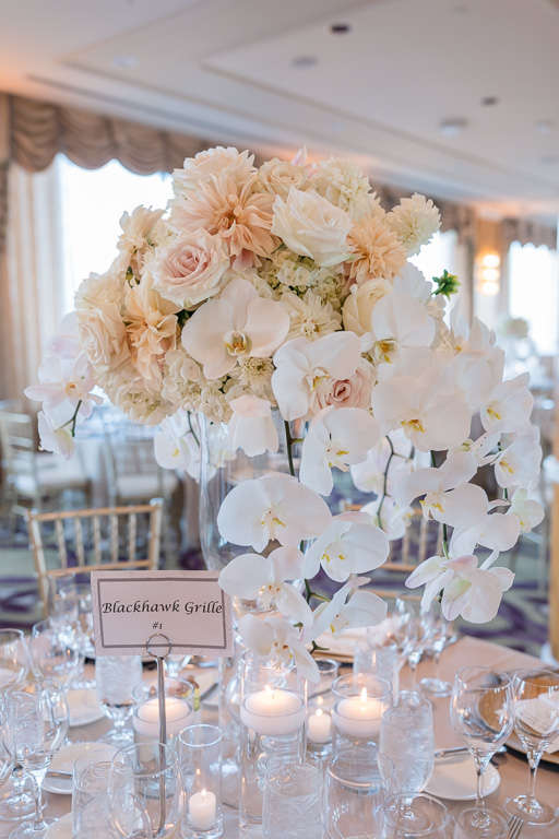 tall floral centerpiece at SF Fairmont wedding reception