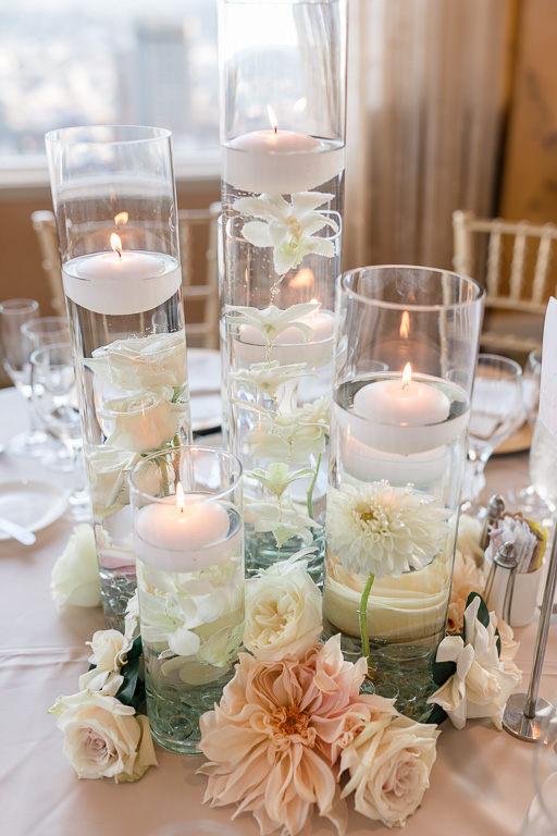 floating candle centerpiece with fresh flowers