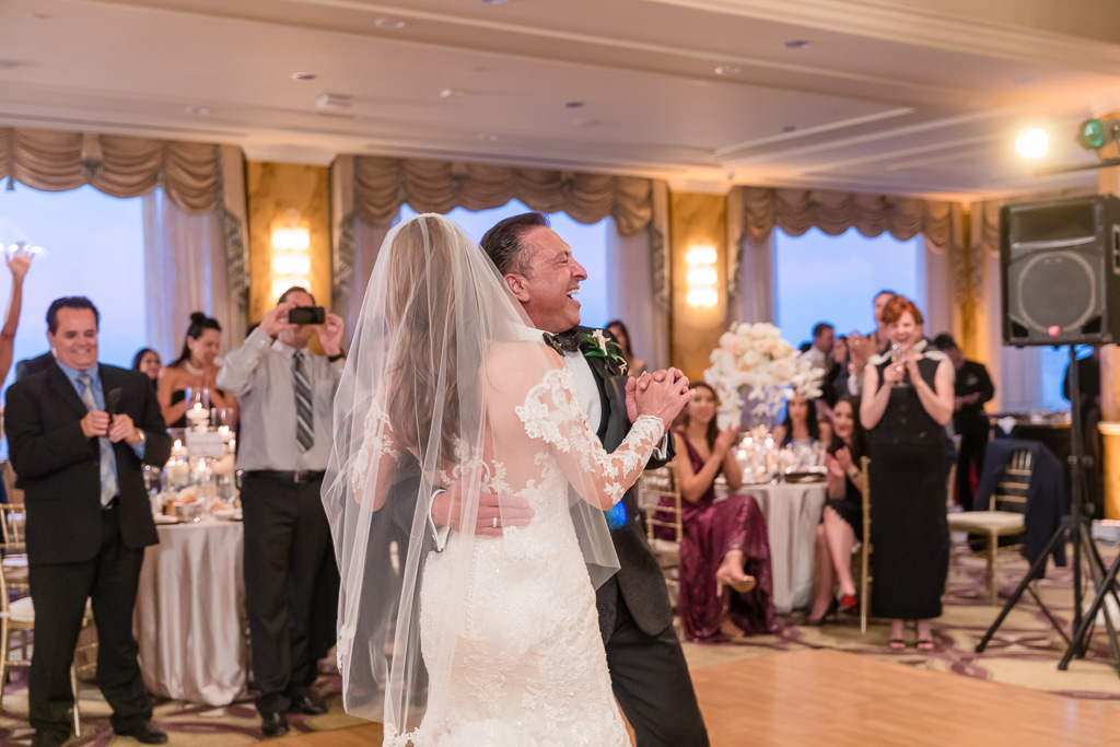 Crown room reception bride and groom's first dance