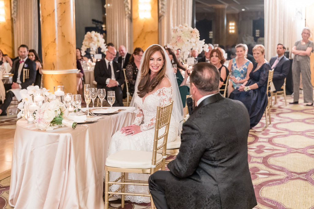 groom kneeled down for a heartfelt speech he gave to his bride at this Fairmont wedding