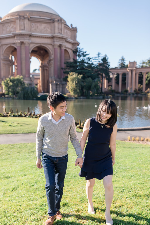 Palace of Fine Arts candid engagement photo