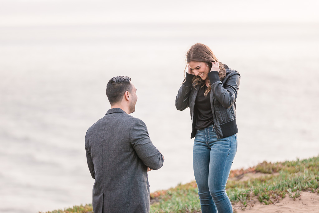 happy proposal moment by oceanside