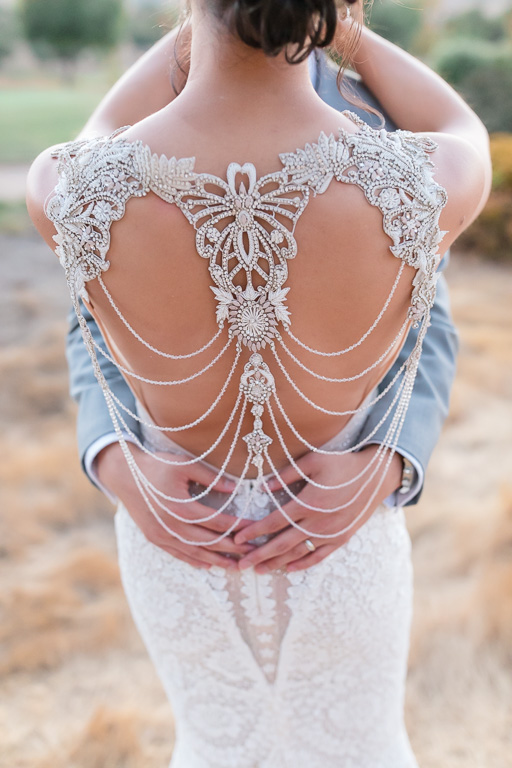 bride in her galia lahav wedding dress