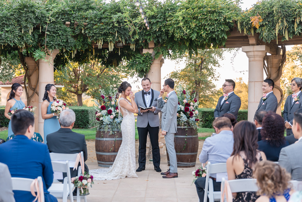 bride and groom both teared up during their touching ceremony at Ruby Hill Club