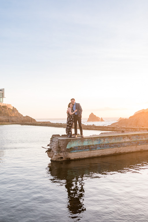 couple engagement portrait session during sunset