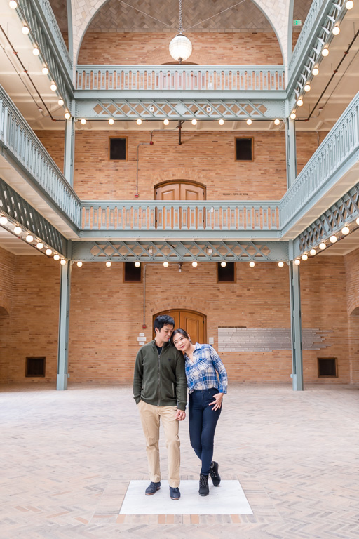 UC Berkeley campus engagement photo with the grand architecture
