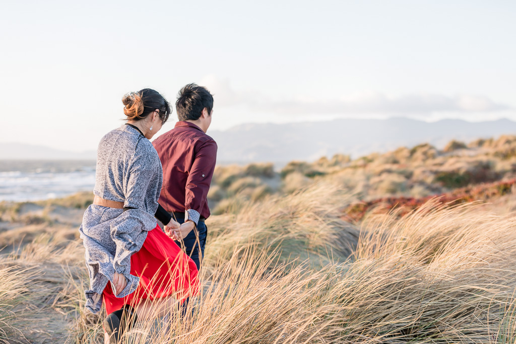 San Francisco engagement photo in the wild tall grass