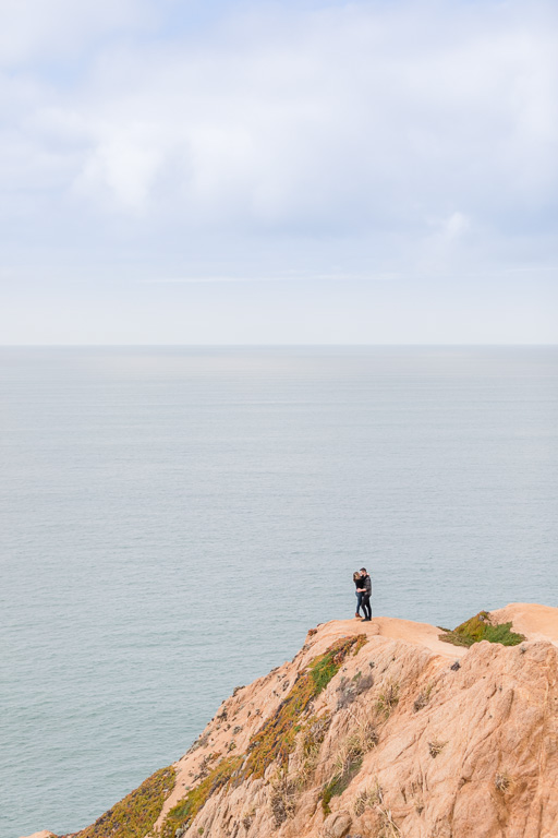 Highway 1 cliffside engagement photo