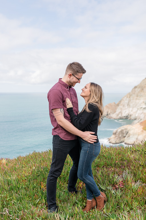 beautiful cliffside engagement portrait by California Hwy 1
