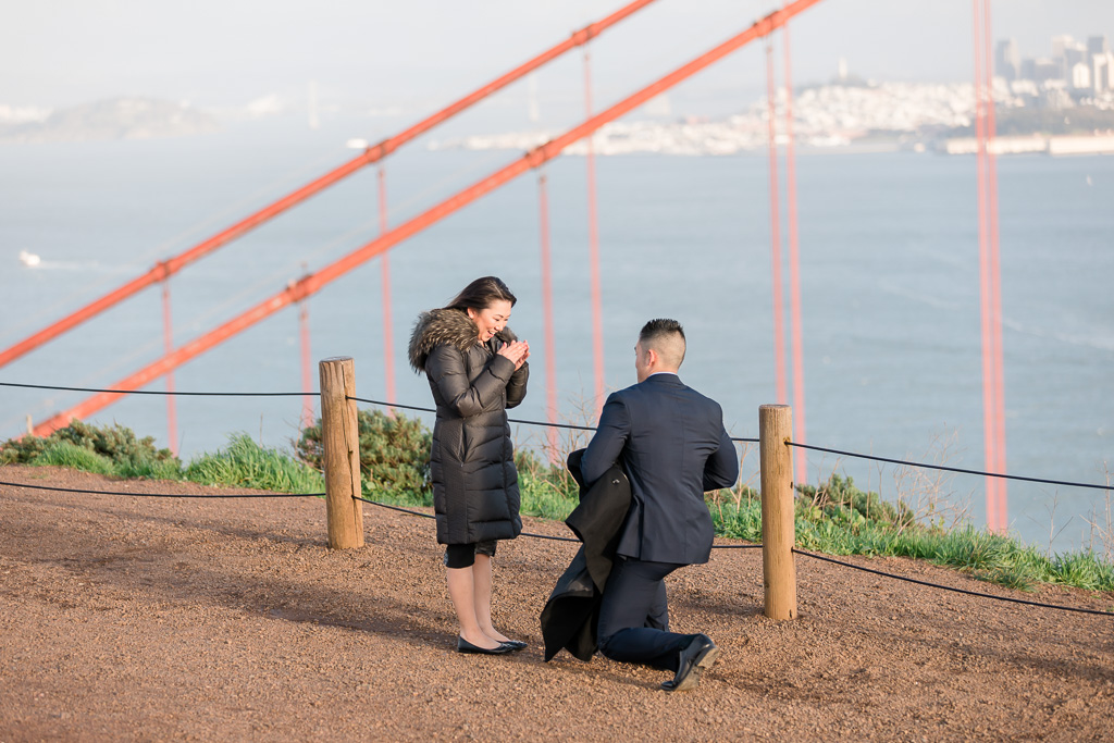 cutest Golden Gate Bridge proposal reaction