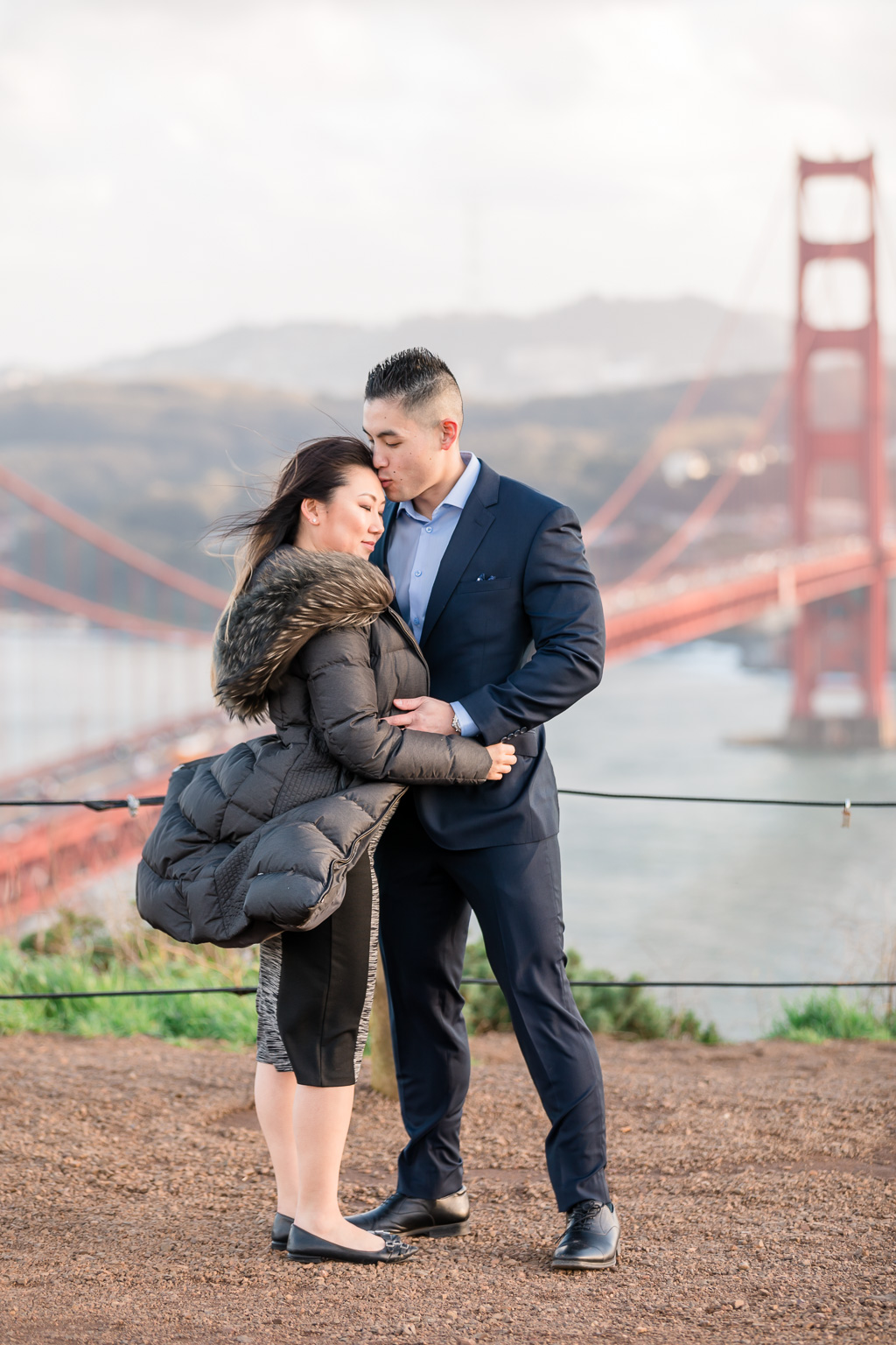 proposed and engaged right in front of the golden gate bridge