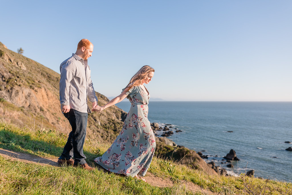 Marin County cliffside engagement photo by the Pacific Ocean