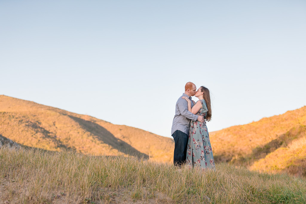 Marin engagement photo on the golden rolling hills