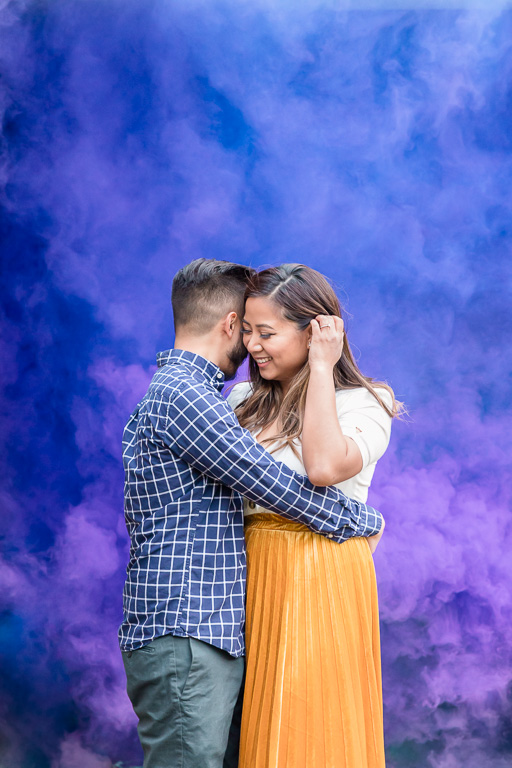 awesome smoke bomb engagement picture