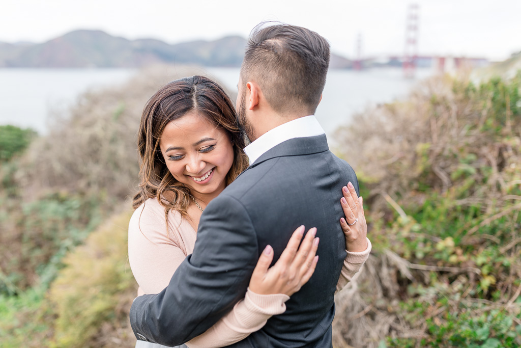 sweet San Francisco outdoor engagement photo