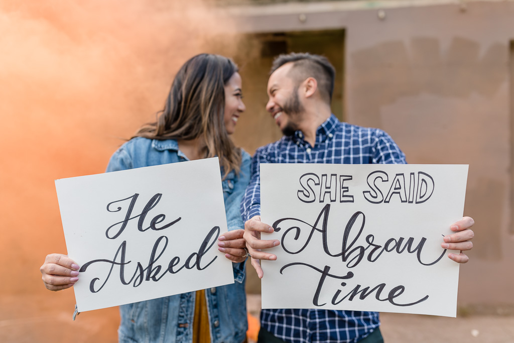Bay Area engagement photographer who plays with smoke bombs