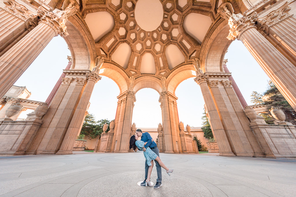 Palace of Fine Arts engagement photo under the dome