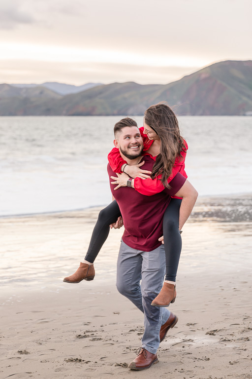 surprise engagement session on San Francisco beach