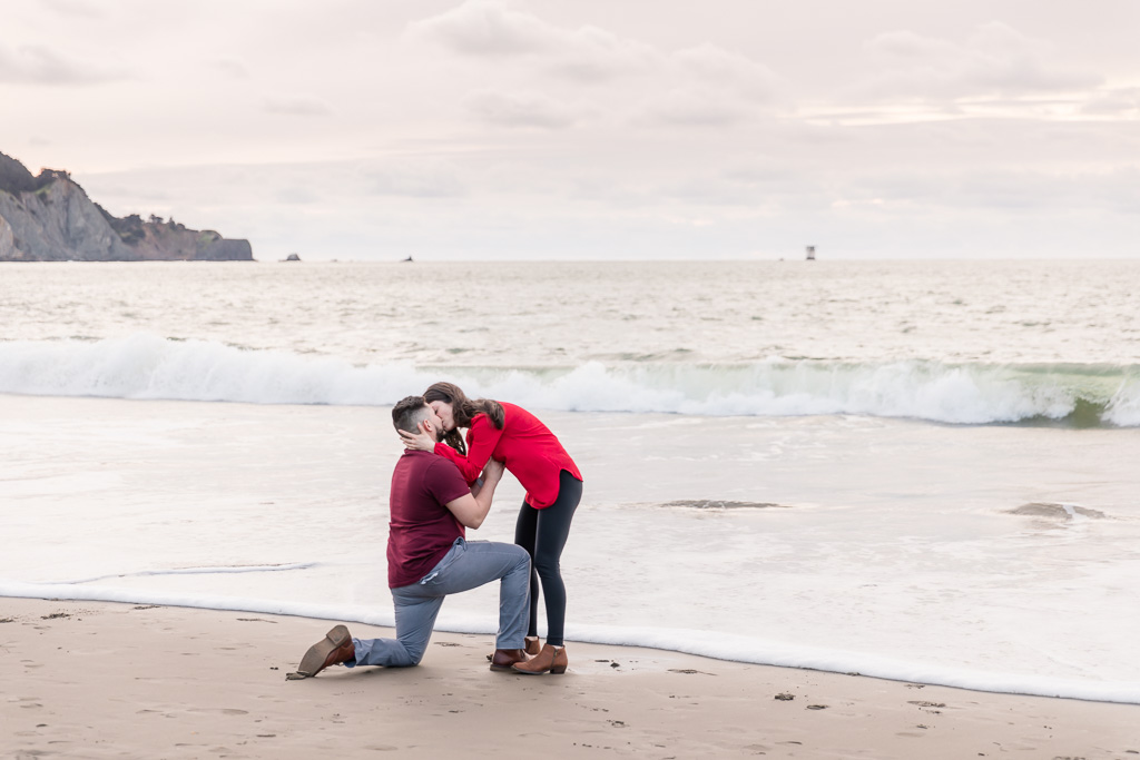 romantic San Francisco beach surprise engagement proposal