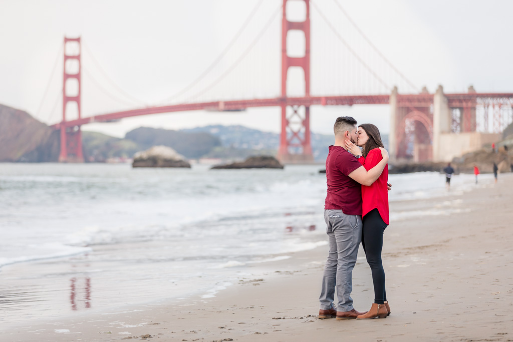 couple traveled to San Francisco and got engaged at Baker Beach