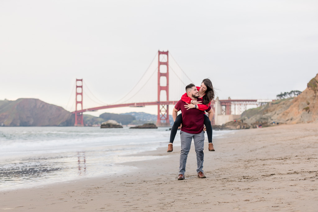 surprise engagement session with the golden gate bridge view