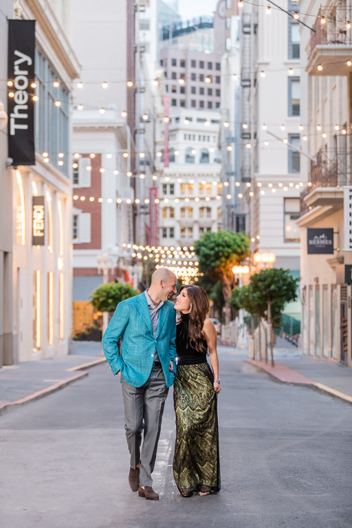 natural light couple engagement photo session at Maiden Lane
