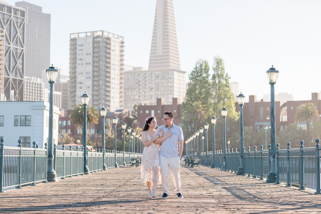 San Francisco engagement photo at Embarcadero and Pier 7