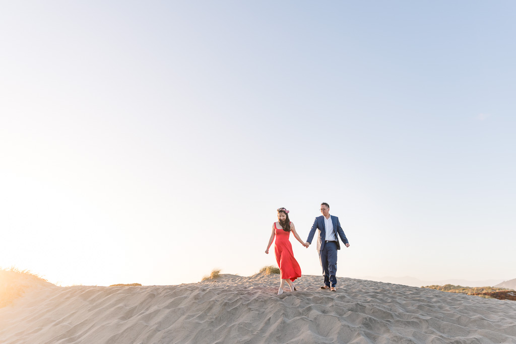whimsical beach engagement photo in San Francisco