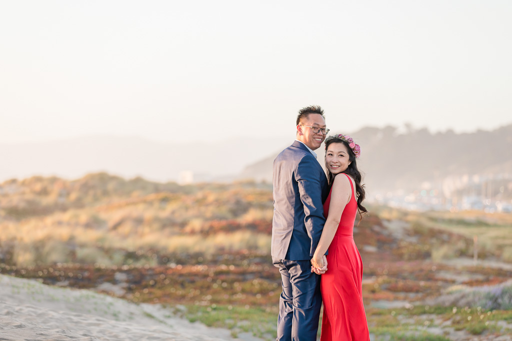 colorful sunset save the date photo