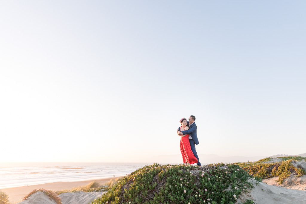 San Francisco beach with greenery perfect spot for wedding and engagement photos