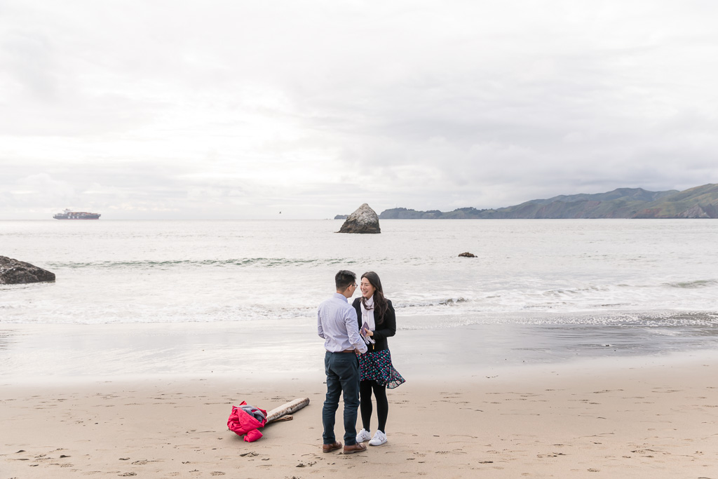he brought the ring with him down the trail and proposed on the sand beach