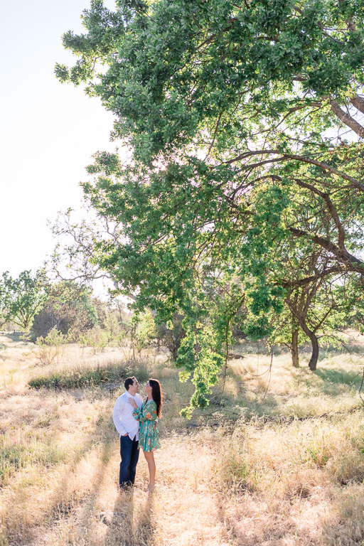 engaged couple under the Sycamore Grove Park stunning trees