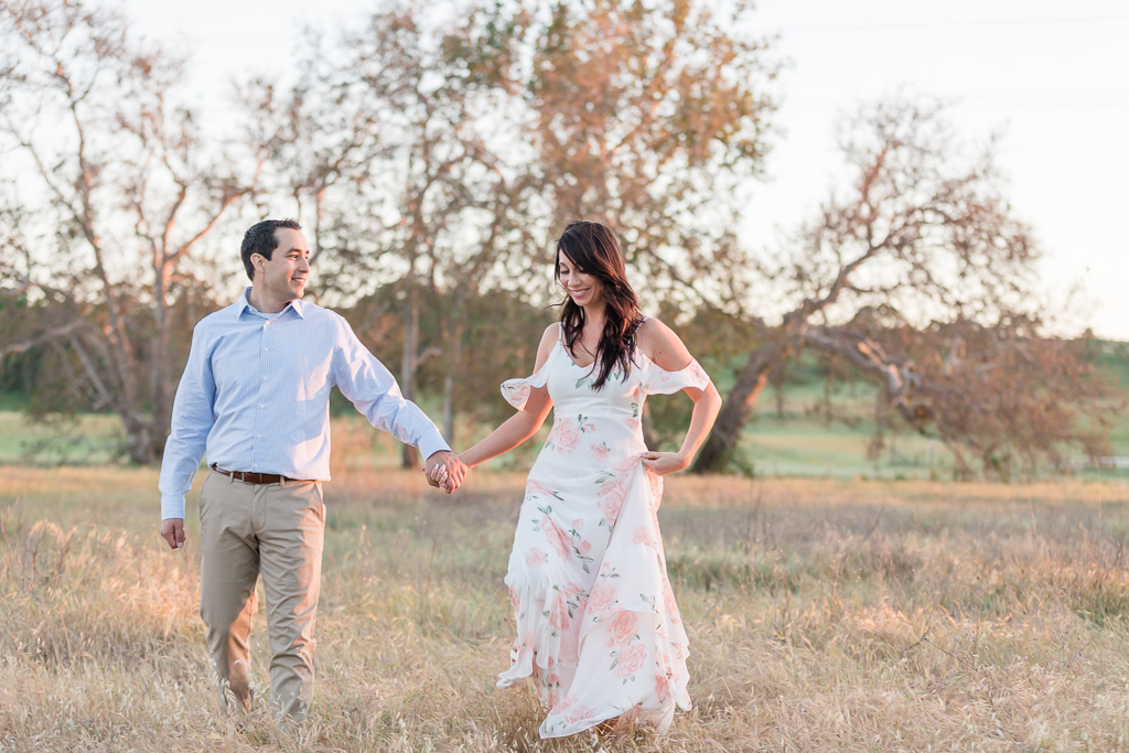 East Bay engagement photo out in an open field