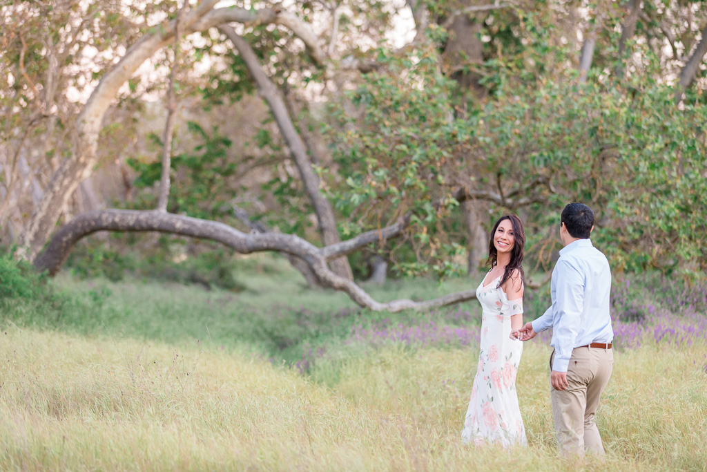 whimsical Sycamore Grove Park engagement photo in Livermore