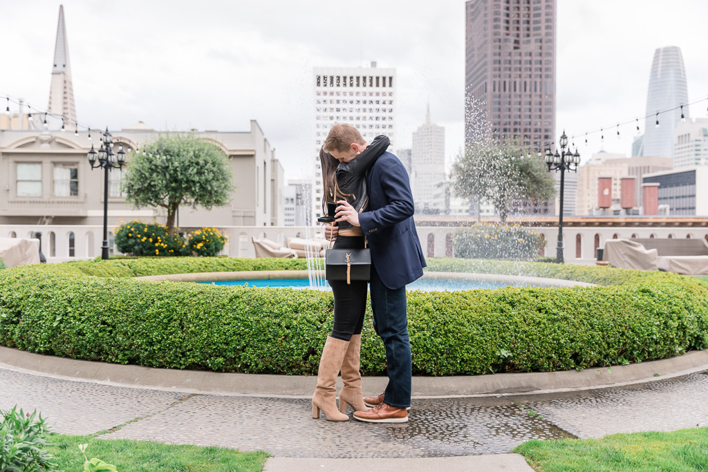 Fairmont San Francisco rooftop garden surprise proposal skyline view