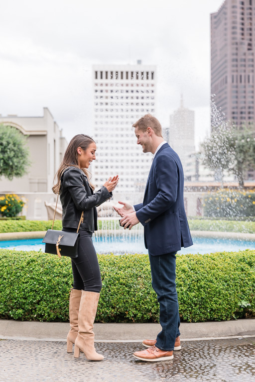 surprise proposal at the Fairmont Hotel