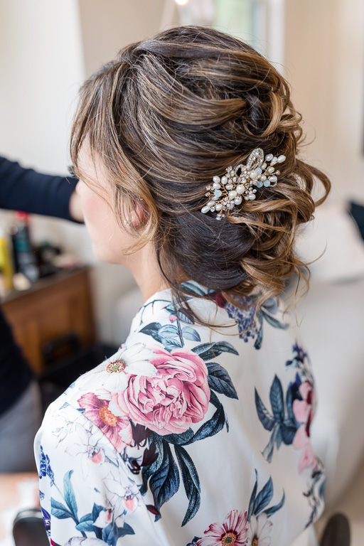 cute hairpiece and bridal robe