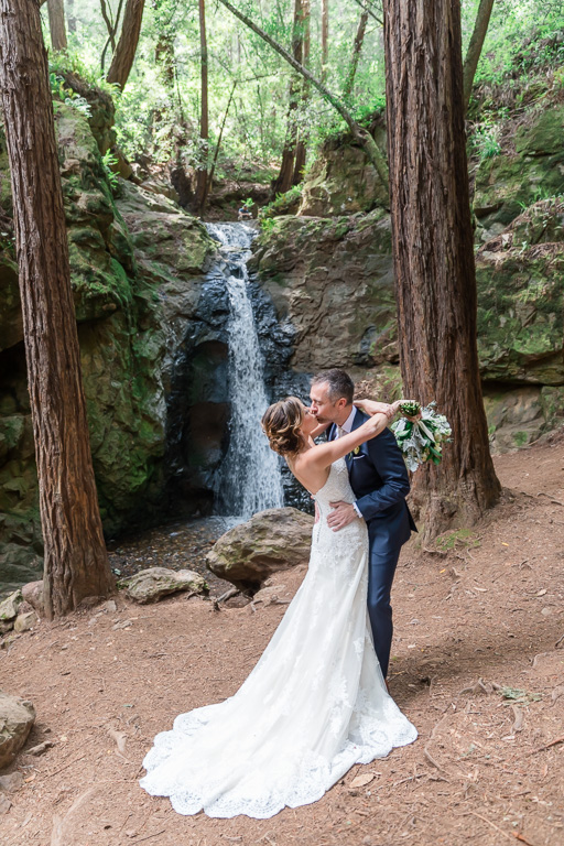 romantic bride and groom wedding portrait by Cascade Falls in Mill Valley