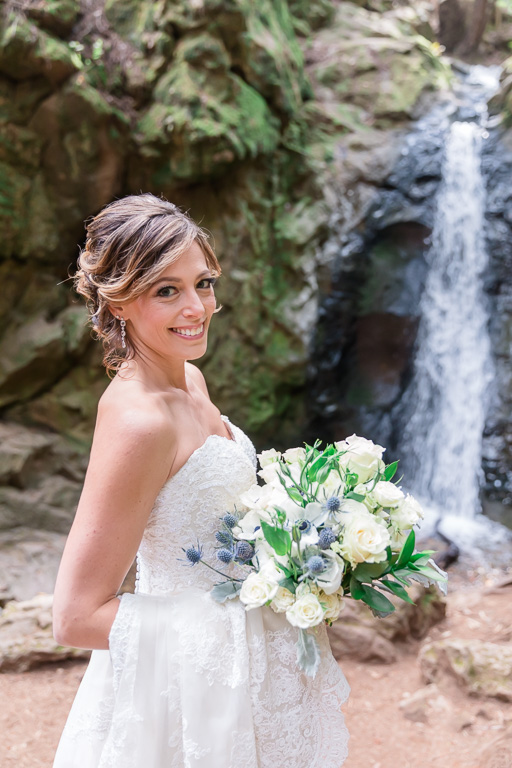 beautiful bridal portrait by Mill Valley Cascade Falls